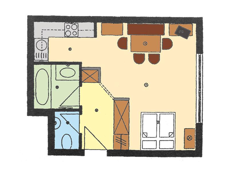 Skizze – Appartement 31qm