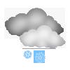 Leichter Schneefall, überwiegend bewölkt