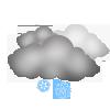 Mäßiger Schneefall, überwiegend bewölkt